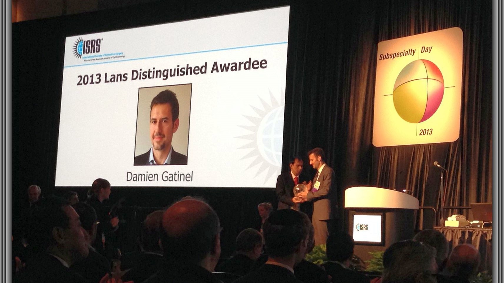 Doctor Damien Gatinel was awarded the Lans Distinguished Award by the American Academy for Ophthalmology