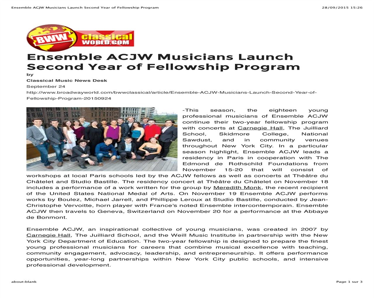 Ensemble ACJW musiciens launch second year of fellowship
