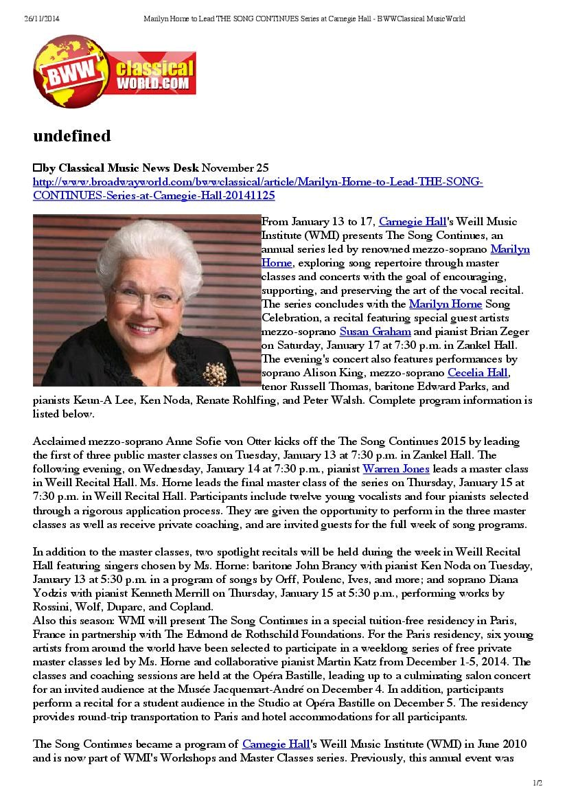 Marilyn Horne to lead the Song Continues Series at Carnegie Hall